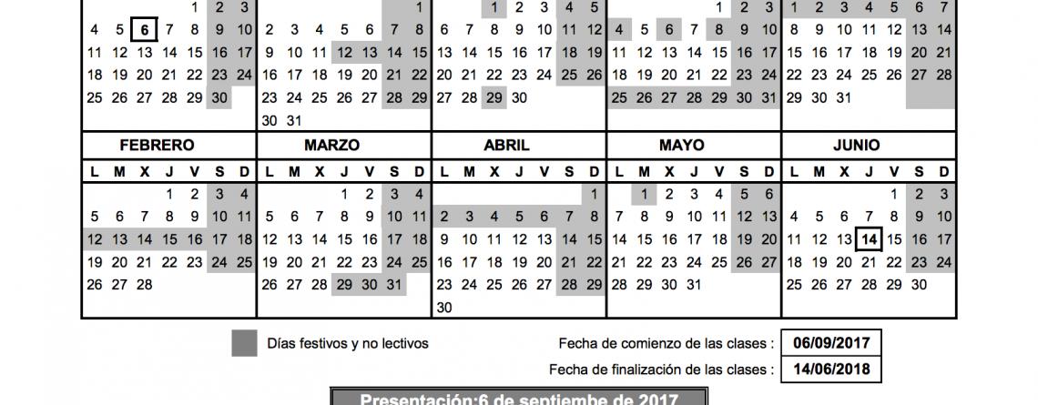 Calendario escolar curso 17-18 y horas de presentación