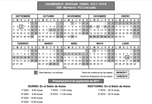 Calendario escolar IES Navarro Villoslada 17-18