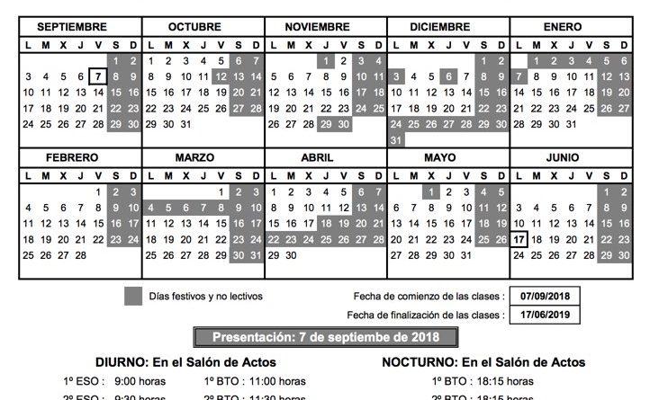Calendario escolar 18-19 y horas de presentación