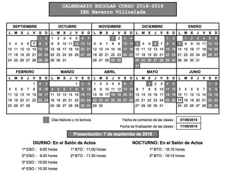 Calendario Escolar 1819.Calendario Escolar 18 19 Y Horas De Presentacion